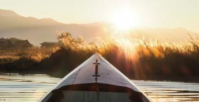 Boat on River in Myanmar